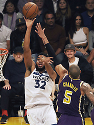 November 7, 2018 - Los Angeles, California, U.S - Karl-Anthony Towns #32 of the Minneapolis Timberwolves during their NBA game with the Los Angeles Lakers on Wednesday November 7, 2018 at the Staples Center in Los Angeles, California. Lakers defeat Timberwolves, 114-110. (Credit Image: © Prensa Internacional via ZUMA Wire)