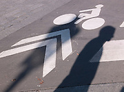 A cycle lane in Paris, France