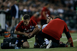 October 7, 2018 - Valencia, Valencia, Spain - Goncalo Guedes of Valencia CF lays down on the pitch injured during the La Liga match between Valencia CF and FC Barcelona at Mestalla on October 7, 2018 in Valencia, Spain  (Credit Image: © David Aliaga/NurPhoto/ZUMA Press)