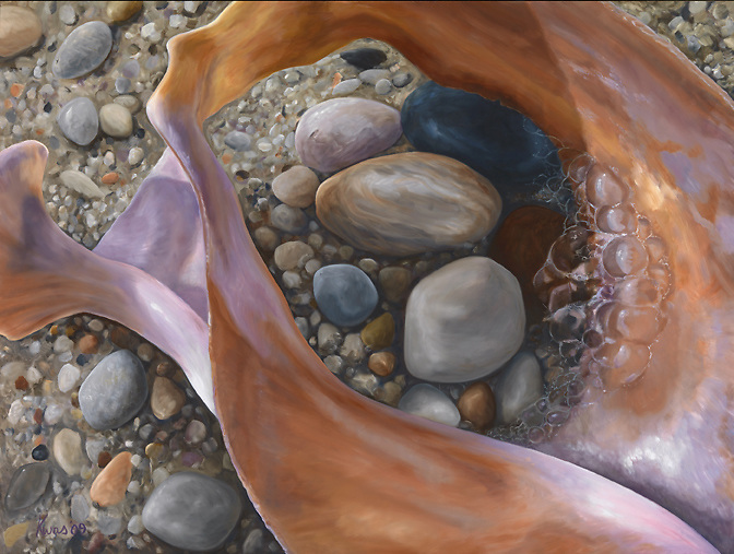 One single conch shell comes to life in this unusual macro view.  Slip and slide along its voluptuous curves, and see a shell from a new perspective! <br /> 36 x 48, oil on birch panel