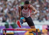 Athletics - 2017 IAAF London World Athletics Championships - Day Three, Morning Session<br /> <br /> 400m Hurdles Men - Round One<br /> <br /> Yasmani Copello (Turkey) clears the hurdle at the London Stadium <br /> <br /> COLORSPORT/DANIEL BEARHAM