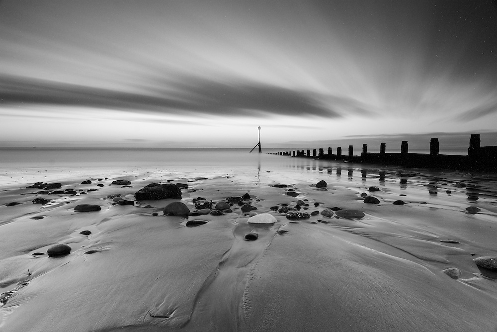 Black and white long exposure at Hornsea beach, East Yorkshire.