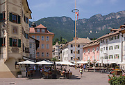 The main piazza in Kaltern-Caldaro (Caldaro sulla Strada del Vino), south Tyrol, Italy. The South Tyrolean budget is 5bn Euros with only 10% leaving the region for government in Rome.