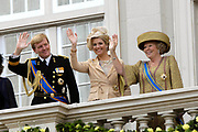 """Prinsjesdag 2007 in The Hague. <br /> <br /> On the Photo: Maxima en Willem Alexander Queen Beatrix at the """"balcony Scene"""""""