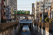 A Tokyu 1000 series train on the Tokyu Tamagawa Line above the Nomi river near Ishikawa-dai station Ota City, Tokyo, Japan. Thursday January 9th 2020 Train, 1013 trains appeared with green livery  that imitated the old 3000 series that was active on the Ikegami Line until 1989 and was popular as a [green train]