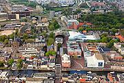 Nederland, Zuid-Holland, Alphen aan den Rijn, 09-05-2013; centrum met Oude Rijn, Adventskerk en Stadhuis en Castellum-theater.<br /> Town centre with river and city hall.<br /> luchtfoto (toeslag op standard tarieven)<br /> aerial photo (additional fee required)<br /> copyright foto/photo Siebe Swart
