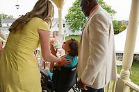 Jen and Tony's Wedding Day.  Congratulations on the Porch.  York, Maine.  ©2015 Karen Bobotas Photographer