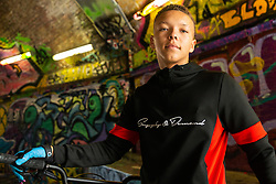 Liam Ross, 17. Bikestormz is the brainchild of leader Mac Ferrari, a group of young trick cyclists who are encouraged to put knives down and enjoy the healthy, positive side of urban youth culture by joining together  and developing their cycling skills. . London, September 27 2019.