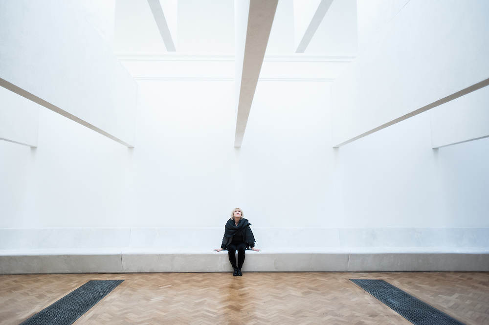 London, UK - 21 January 2014: architect Yvonne Farrell poses next to their installation at the Sensing Spaces: Architecture Reimagined exhibition at the Royal Academy of Arts