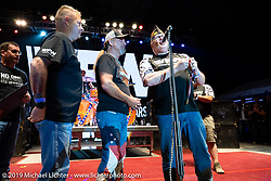 The VFW on stage to present Jesse James Dupree a special award during intermission of the Jackyl concert at the Full Throttle Saloon during the Sturgis Motorcycle Rally. SD, USA. Thursday, August 12, 2021. Photography ©2021 Michael Lichter.