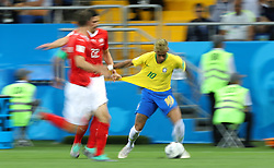 June 17, 2018 - Rostov Do Don, Rússia - ROSTOV DO DON, RO - 17.06.2018: BRAZIL VS SWITZERLAND - Neymar do Brasil is receiving foul from Isaac Kiese THELIN of Switzerland during the match between Brazil and Switzerland valid for the 2018 World Cup held at the Rostov Arena in Rostov-on-Don, Russia. (Credit Image: © Rodolfo Buhrer/Fotoarena via ZUMA Press)