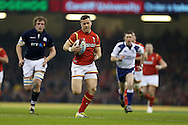 Gareth Davies of Wales makes a break to score his teams 1st try. RBS Six nations championship 2016, Wales v Scotland at the Principality Stadium in Cardiff, South Wales on Saturday 13th February 2016. <br /> pic by  Andrew Orchard, Andrew Orchard sports photography.