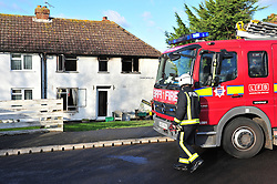 © Licensed to London News Pictures. 15/01/2016 <br /> A man has died after a house fire at Leaves Green Road,Keston,Kent. Firefighters were called at 6.53am this morning (15.01.2016). Two men escaped the fire but were treated for smoke inhalation, fire crews from Biggin Hill,Bromley and addington attended. Photo credit:LNP
