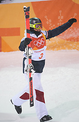 February 11, 2018 - Pyeongchang, South Korea - PERRINE LAFONT of France celebrates at the finish line after winning the gold medal at the Womens Moguls finals Sunday, February 11, 2018 at Phoenix Snow Park at the Pyeongchang Winter Olympic Games.  Photo by Mark Reis, ZUMA Press/The Gazette (Credit Image: © Mark Reis via ZUMA Wire)