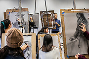 Students work on their charcoal sketches during a Figure Drawing 1 class held at Charles Addams Fine Arts Hall at the University of Pennsylvania in Philadelphia, Pennsylvania on February 27, 2020.