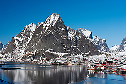 View of village of Reine in Moskenes  in Lofoten Islands in Norway in winter 2010