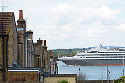 © Licensed to London News Pictures. 30/04/2016. London's cruise season has got under way with the arrival of the first cruise liner in the capital this year L'Austral sailed up the Thames this afternoon where she moored alongside HMS Belfast. The ship is seen here passing a period terrace in Gravesend. The French cruise ship is 142 metres long - about the same length as 14 London buses. Clean air campaigners have recently won a Judicial Review into a decision to build a new cruise liner terminal in London at Greenwich. The arrival occured on a sunny, spring Bank holiday Saturday. Credit: Rob Powell/LNP