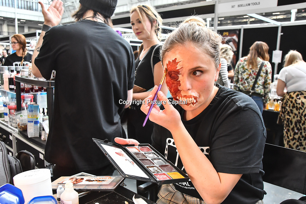 Tilt professional makeup - self-taught artist Charlotte Roli demo at IMATS London on 18 May 2019,  London, UK.