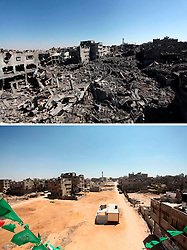 07.07.2015, Gaza city, PSE, Nahostkonflikt zwischen Israel und Palästina, Vorher und Nachher, im Bild eine Combo von zwei Bildern das obere ist im Krieg des Sommers 2014 zwischen Palästina und Israel und aufgenommen worden, das untere am 07. Juli 2015 // A combination of pictures made on July 7, 2015 shows (top) a general view of destruction in the Shejaia neighbourhood, which witnesses said was heavily hit by Israeli shelling and air strikes on July 26, 2014, in Gaza City, and the same place (bottom) on July 7, 2015, a year after the 50-day war between Israel and Hamas' militants, Palestine on 2015/07/07. EXPA Pictures © 2015, PhotoCredit: EXPA/ APAimages/ Ashraf Amra<br /> <br /> *****ATTENTION - for AUT, GER, SUI, ITA, POL, CRO, SRB only*****