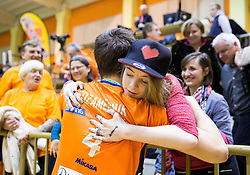 Jan Kozamernik of ACH celebrate with his fans after winning during volleyball match between ACH Volley   and Salonit Anhovo in Final of Slovenian Cup 2014/15, on January 17, 2015 in Sempeter, Slovenia. Photo by Vid Ponikvar / Sportida