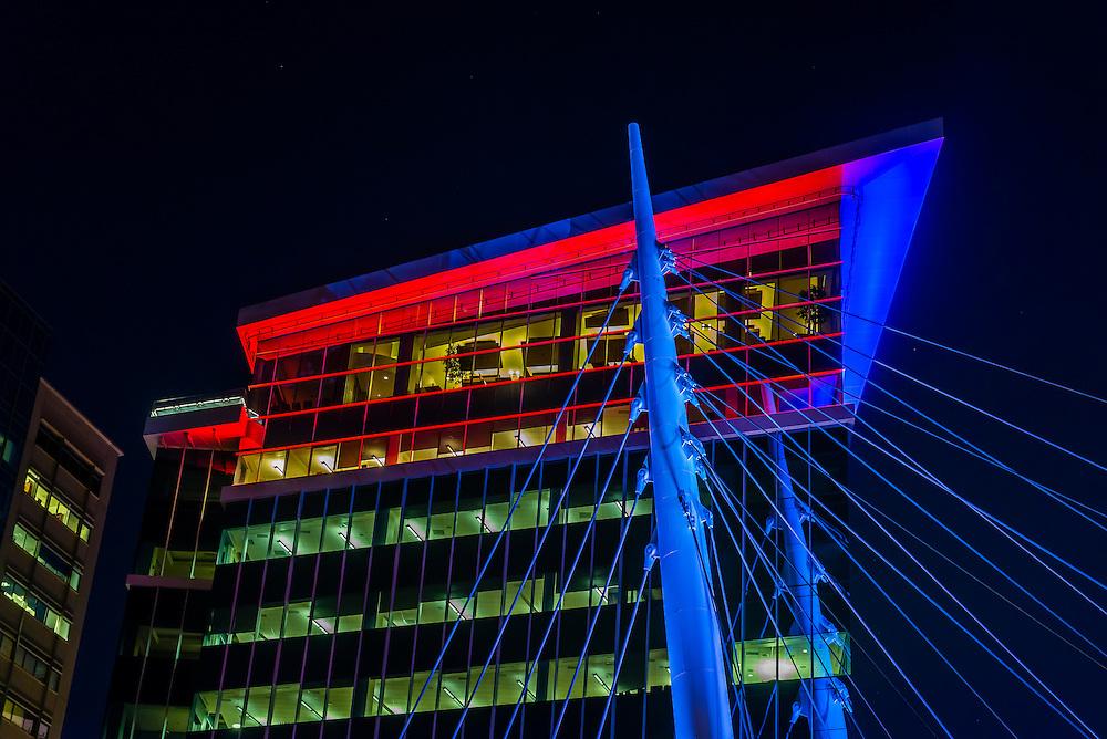 The Davita Building and the Millennium Bridge, Downtown Denver, Colorado USA.