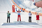 Pierre Vaultier, France, GOLD, Jarryd Hughes, Australia, SILVER,<br /> Regino Hernandez, BRONZE. Mens boardercross finals at the Pyeongchang Winter Olympics on 15th February 2018 at Phoenix Snow Park in South Korea