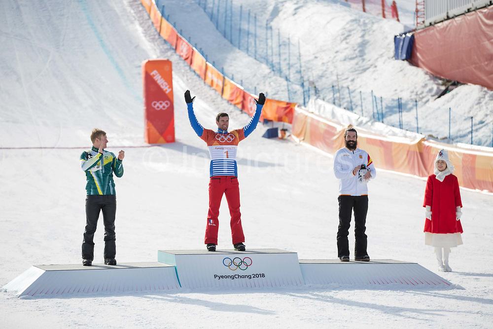 Pierre Vaultier, France, GOLD, Jarryd Hughes, Australia, SILVER,<br /> Regino Hernandez, BRONZE. Mens boardercross finals at the Pyeongchang Winter Olympics on 15th February 2018 at Phoenix Snow Park in South Korea
