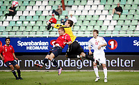 Fotball <br /> Privatlandskamp  U21 menn<br /> Friendly International U 21 Match<br /> Briskeby Gressbane <br /> 28.05.2010<br /> Norge v Ungarn<br /> Norway v Hungary 2-1<br /> Foto: Dagfinn Limoseth, Digitalsport<br /> Marcus Pedersen  , Norway , Balázs Megyeri , Hungary