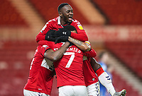 Middlesbrough's Marcus Tavernier celebrates scoring his side's second goal with Yannick Bolasie, Middlesbrough's Chuba Akpom and Neeskens Kebano<br /> <br /> Photographer Alex Dodd/CameraSport<br /> <br /> The EFL Sky Bet Championship - Middlesbrough v Preston North End - Tuesday 16th March 2021 - Riverside Stadium - Middlesbrough<br /> <br /> World Copyright © 2021 CameraSport. All rights reserved. 43 Linden Ave. Countesthorpe. Leicester. England. LE8 5PG - Tel: +44 (0) 116 277 4147 - admin@camerasport.com - www.camerasport.com