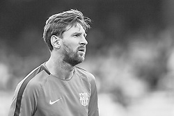 September 18, 2018 - Barcelona, Barcelona, Spain - (EDITORS NOTE: the image has been converted to black and white) Leo Messi of FC Barcelona looks on prior to the UEFA Champions League group B match between FC Barcelona and PSV Eindhoven at Camp Nou on September 18, 2018 in Barcelona, Spain  (Credit Image: © David Aliaga/NurPhoto/ZUMA Press)