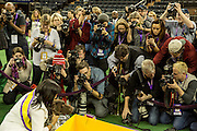 New York, NY - 16 February 2016. Best of Show winner CJ, a German short-haired pointer, poses for photos after the 140th Westminster Kennel Club Dog show in Madison Square Garden.