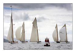 The Class one fleet all approach the turning mark off Skelmorlie on. the Clyde...* The Fife Yachts are one of the world's most prestigious group of Classic  yachts and this will be the third private regatta following the success of the 98,  and 03 events.  ..Marc Turner / PFM Pictures
