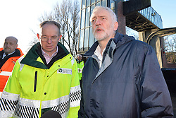 © Licensed to London News Pictures. 31/12/2015. York, UK. Labour Party leader Jeremy Corbyn visits the Foss Barrier where the Rivers Foss and Ouse meet in York. Photo credit : Anna Gowthorpe/LNP