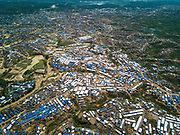 An aerial view from above of Kutupalong Refugee Camp and Camp Extension.
