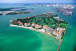 Fisher Island (front), Port of MIami, .downtown Miami and Virginia Key (left), .Miami, Biscayne Bay, Florida (Atlantic)