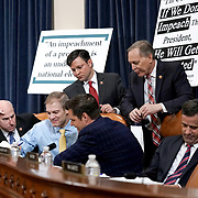 Reps. Louie Gohmert (R-Texas), Jim Jordan (R-Ohio), Mike Johnson (R-La.), Andy Biggs (R-Ariz.), Matt Gaetz (R-Fla.) and John Ratcliffe (R-Texas) are seen during a break at a House Judiciary Committee hearing to discuss the impeachment inquiry against President Trump with testimony from four constitutional law scholars on Wednesday, December 4, 2019.