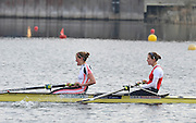 Hazewinkel, BELGIUM,  Women's Pairs. GBR W2-. stroke [left] Louisa REEVE and Olivia WHITLAM, winning the A final at the Monday Morning Final.  British Rowing Senior Trails, Bloso Rowing Centre. Monday  12/04/2010.  [Mandatory Credit. Peter Spurrier/Intersport Images]