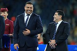 2nd July 2017 - FIFA Confederations Cup Final - Chile v Germany - Brazilian legend Ronaldo (L) shares a joke with Argentinian legend Diego Maradona - Photo: Simon Stacpoole / Offside.
