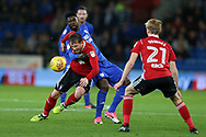 Joe Garner of Ipswich Town (l) is fouled by Bruno Ecuele Manga of Cardiff City.EFL Skybet championship match, Cardiff city v Ipswich Town at the Cardiff city stadium in Cardiff, South Wales on Tuesday 31st October 2017.<br /> pic by Andrew Orchard, Andrew Orchard sports photography.