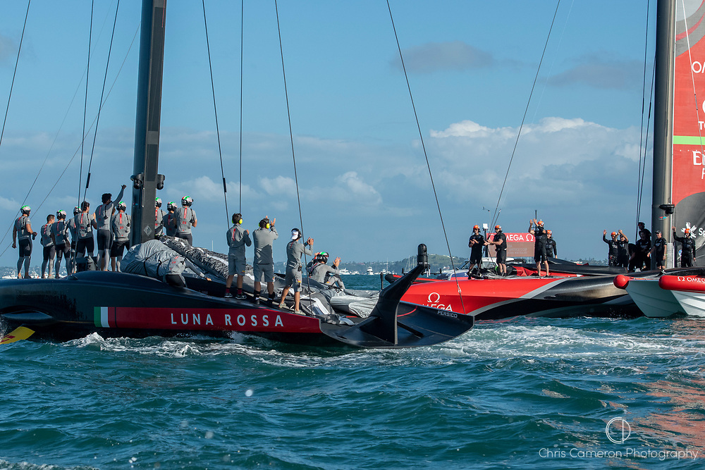 Luna Rossa Prada Pirelli Team applaud Emirates Team New Zealand as they pass after the last race of the America's Cup. Wednesday the 17th of March 2021. Copyright photo: Chris Cameron