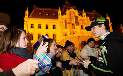 Jurij Tepes with fans during reception of Slovenian Ski jumping team after they get bronze team medal and R. Kranjec became World Champion at FIS Ski Flying World Championships 2012 in Vikersund, Norway, on February 28, 2012 in Kongresni try, Ljubljana, Slovenia.  (Photo By Vid Ponikvar / Sportida.com)