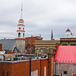 Frederick, Maryland - The rooftop of downtown Frederick reveals the variety of architectural styles and dominance of churches in the small downtown area.. Photo by Susana Raab
