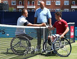 June 22, 2018 - London, United Kingdom - L-R Nicolas Peifer (FRA)  and Gordon Reid  doing for toss at Queens Club .during Fever-Tree Championships Wheelchair Event match between Gordon Reid  against Nicolas Peifer (FRA)  at The Queen's Club, London, on 22 June 2018  (Credit Image: © Kieran Galvin/NurPhoto via ZUMA Press)