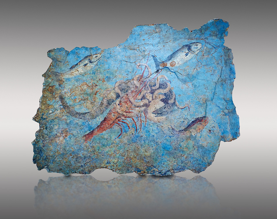 Roman Fresco with a fight scene between octopus, lobster and eel, 125-150 AD. (mosaico fauna marina da porto fluviale di san paolo), museo nazionale romano ( National Roman Museum), Rome, Italy. inv. 463Z4.  Against a grey background.<br /> <br /> Excavated from the Porto di San Paolo near the Via Portuense, these frescoes decorated the thermal area of a suburban Roman Villa. The reconstructed fresco fragments, depict a group of three fighting animals: an octopus (octopus vulgaris) clutches a moray eel (muraena helena) and a lobster (palinurus vulgaris) in its tentacles; around them mud mullets (mullus barbatus) and rock mullets (mullus surmuletus) try to escape. Incriptions on the frescoes suggesy that the villa owner was from Alexandria where this style of nautical mosaic and fresco  decorations is found. .<br /> <br /> If you prefer to buy from our ALAMY PHOTO LIBRARY  Collection visit : https://www.alamy.com/portfolio/paul-williams-funkystock/national-roman-museum-rome-fresco.html<br /> <br /> Visit our ROMAN ART & HISTORIC SITES PHOTO COLLECTIONS for more photos to download or buy as wall art prints https://funkystock.photoshelter.com/gallery-collection/The-Romans-Art-Artefacts-Antiquities-Historic-Sites-Pictures-Images/C0000r2uLJJo9_s0