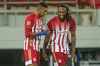 PIRAEUS, GREECE - OCTOBER 21: Ahmed Hassan of Olympiacos FC and Rúben Semedo of Olympiacos FC celebrate the goal of Olympiacos FC during the UEFA Champions League Group C stage match between Olympiacos FC and Olympique de Marseille at Karaiskakis Stadium on October 21, 2020 in Piraeus, Greece. (Photo by MB Media)