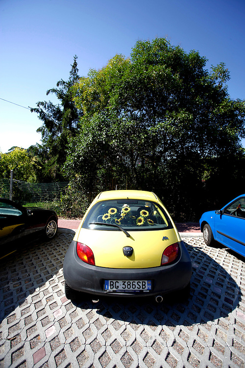 Yellow car with flowers in back seat, Italy