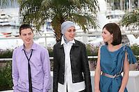 Actor Ismir Gagula, Director Aida Begic, Actress Marija Pikic,  at the Children of Sarajevo (Djeca) film photocall at the 65th Cannes Film Festival France. Monday 21st May 2012 in Cannes Film Festival, France.