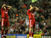 Photo: Paul Greenwood/Sportsbeat Images.<br />Liverpool v Fulham. The FA Barclays Premiership. 10/11/2007.<br />Liverpool's Steven Gerrard, (L) and Alvaro Arbeloa react as another chance is missed