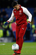 Alexis Sanchez of Arsenal in action during prematch warm up. Carabao Cup , semi final 1st leg match, Chelsea v Arsenal at Stamford Bridge in London on Wednesday 10th January 2018.<br /> pic by Steffan Bowen, Andrew Orchard sports photography.