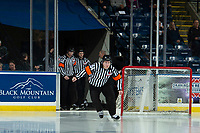 KELOWNA, CANADA - DECEMBER 5: Referee Dexter Rasmussen enters the ice at the Kelowna Rockets against the Tri-City Americans on December 5, 2018 at Prospera Place in Kelowna, British Columbia, Canada.  (Photo by Marissa Baecker/Shoot the Breeze)